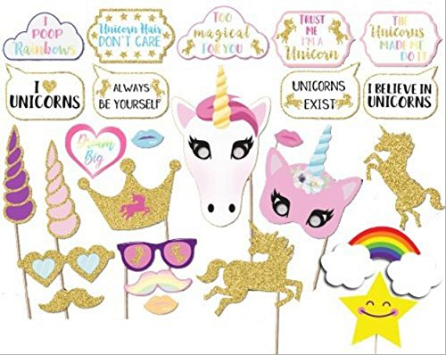 26PCS Glitter Unicorn Photo Booth Props Girl Birthday Party Supplies (Party Supplies Decorations)