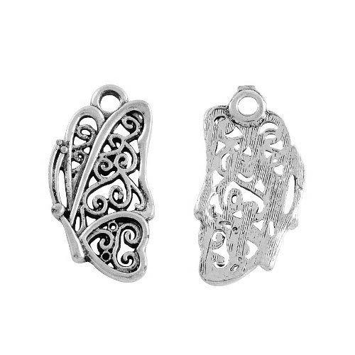 Paquet 12 x Argent Antique Tibétain 25mm Breloques Pendentif (Papillon) - (ZX02020) - Charming Beads