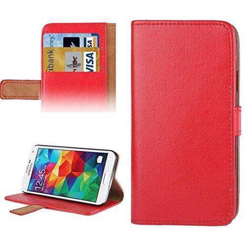Mxnet Crazy Horse Texture Leder Tasche mit Kreditkarte Slot & Halter für Samsung Galaxy S5 / G900 rutschsicher Telefon-Kasten ( Color : Red )