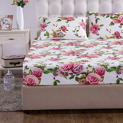 DaDa Bedding Romantic Roses Fitted Sheet - Lovely Spring Pink Floral Colorful - Bright Vibrant w/Pillow Cases Set - Queen - 3-Pieces
