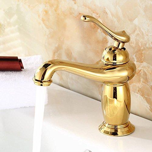 U-Enjoy Neues Produkt Messing Hochwertiges Gold Badezimmer-Hahn Mit Einzelner Hanlde Gold-Küchenarmatur Und Heißem Kaltes Bad Wasserhahn [Kostenloser Versand]