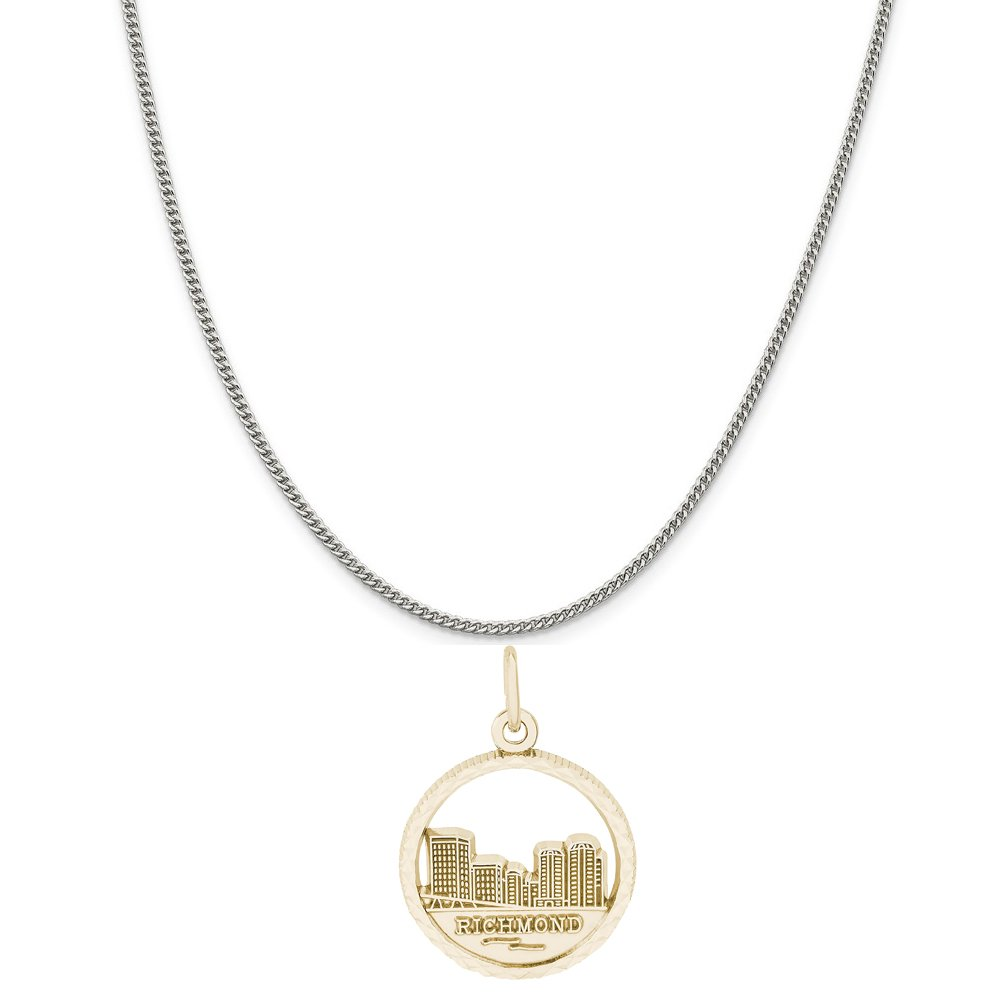 18 or 20 inch Rope Rembrandt Charms Two-Tone Sterling Silver Richmond Skyline Charm on a Sterling Silver 16 Box or Curb Chain Necklace