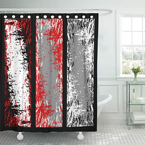 Ancient Page Dye - Emvency Shower Curtain Abstract Different Grey Red Black and White Grunge Aged Shower Curtains Sets with Hooks 60 x 72 Inches Waterproof Polyester Fabric