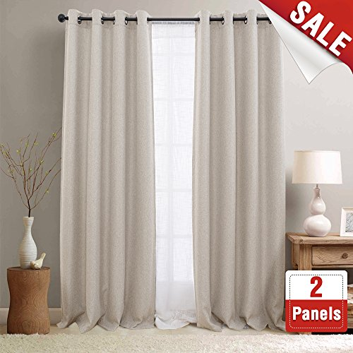 Room Darkening Curtains for Bedroom Beige Linen Look Textured Blackout Window Drapes 84 inches Long Moderate 2 Curtain (Ring Setting 2 Loop)