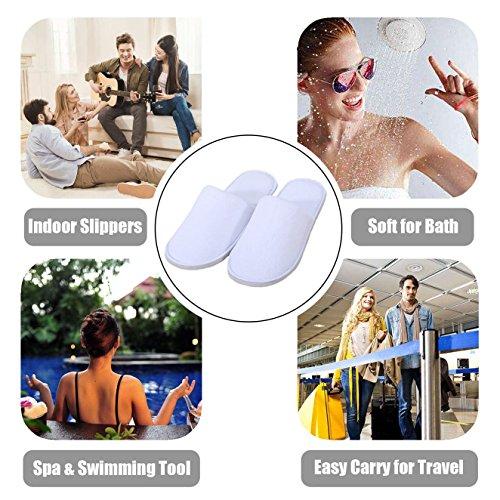 l'usage Parfait moelleuses Maison Confortables de pour Commercial Blanches White l'hôtel Unisexes Fermées Spa d'orteil de antidérapantes et ou Pantoufles la PgcqT64F