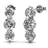 Cate & Chloe Ellie Light 18k White Gold Swarovski Earrings, Drop Dangle-Earrings, Swarovski Crystal Drop Earrings