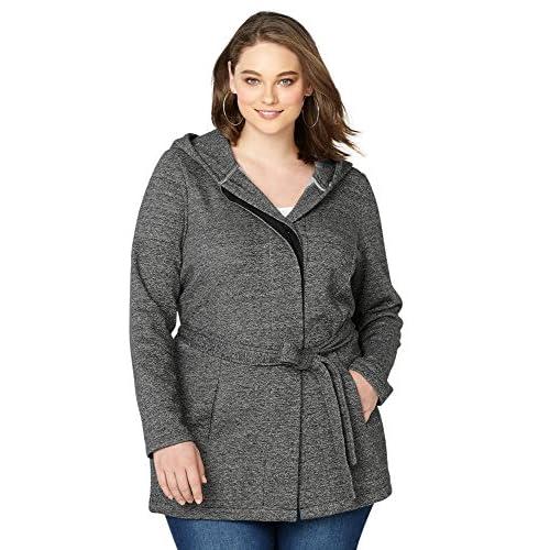 Avenue Women's Melange Hooded Fleece Trench Coat for cheap