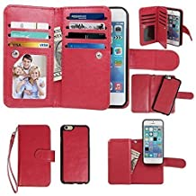 Case for iPhone 5 5S, xhorizon Premium Leather Folio Case [Wallet Function] [Magnetic Detachable] Fashion Wristlet Lanyard Hand Strap Purse Soft Flip Book Style Multiple Card Slots Cash Compartment Pocket with Magnetic Closure Case Cover Skin ZA5 for iPhone 5/5S - Red