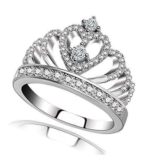 Princess Queen Crown Rings for Women Girl Eternity Heart-Shaped Promise Ring Zircon Jewelry Size 4 - 12.5