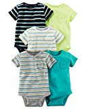 Carter's Carters' Baby Boys 5 Pack Bodysuit Set, Solid/Stripe, 6 Months