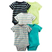 Carter's Carters' Baby Boys 5 Pack Bodysuit Set, Solid/Stripe, 3 Months