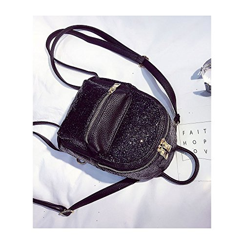 Girls Backpack Bag Leather Mini Sequin Cross Backpack Body Women Purse Cute Black Leather rnB0qr