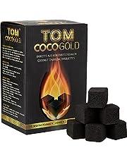Tom Cococha Waterpijp kolen van kokosnootschalen, kubus 25 x 25 mm, 1 kg, koolstof, goud, 20 x 10 x 10 cm