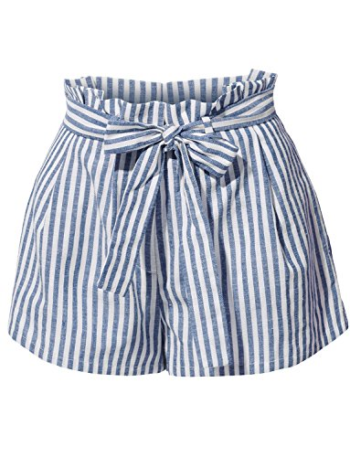 RK RUBY KARAT Womens Casual Linen High Waisted Striped Short Pants with Belt Cotton Striped Belt