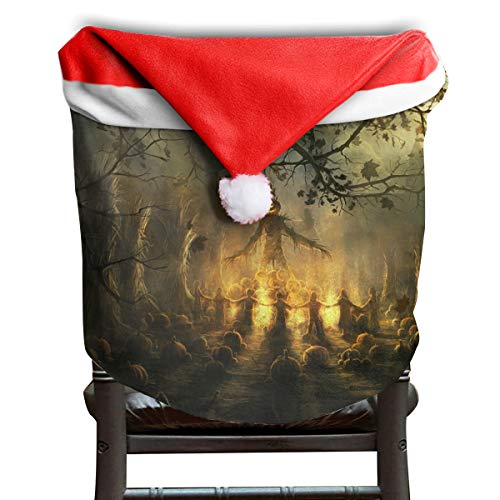EDYE Happy Halloween Mysterious Sacrifice in Graveyard Christmas Xmas Themed Dinning Seat Chair Cap Hat Covers Ornaments for Backers Slipcovers Wraps Coverings Decorations Protector Set