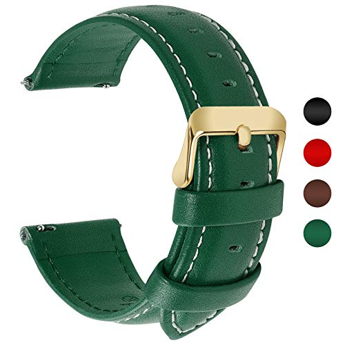12 Colors for Quick Release Leather Watch Band, Fullmosa Axus Genuine Leather Watch Strap 20mm Dark Green-GD