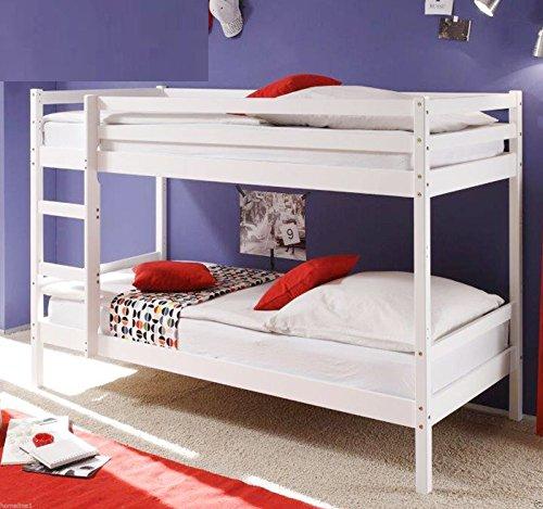 Kinder Etagenbett massiver Kiefer 90x200 cm (Weiss)