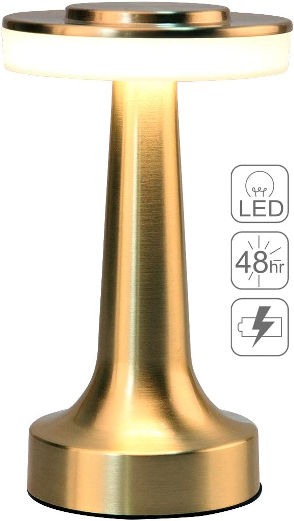 O'Bright Portable LED Table Lamp with Touch Sensor, 3-Levels Brightness, Rechargeable Battery Up to 48 Hours Usage, Night Light for Kids Nursery, Nightstand Lamp, Bedside Lamp, Gold