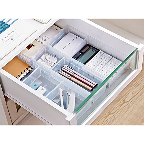 Drawer Organizer, Anumit Clear Plastic Storage Drawers with 2 Adjustable Drawer Dividers for Office, School, Kitchen, Dresser, Desk, Bedroom (2 Pack) by Anumit (Image #6)
