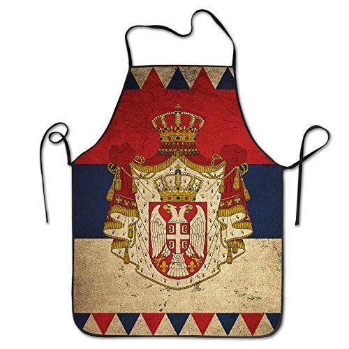 Serbia Map Flag Retro Durable Adjustable Washable Kitchen Overlock Apron Mother Gift Cooking Baking Restaurant Unisex