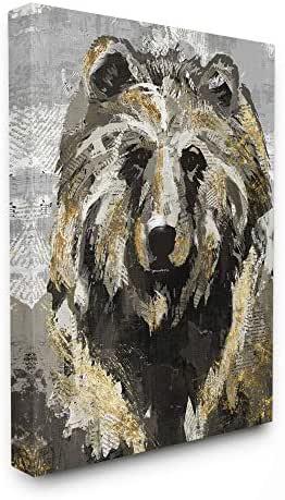 Stupell Industries Bear Newspaper Collage Grey Gold Design Canvas Wall Art, 16 x 20, Multi-Color