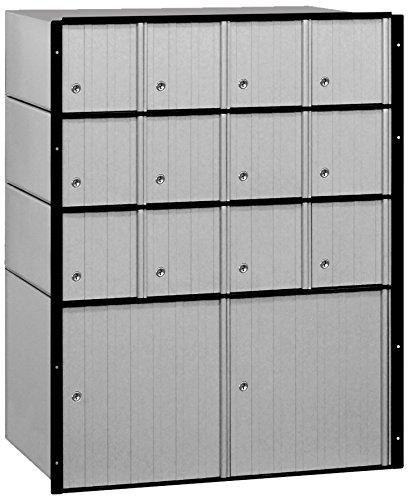 Salsbury Industries 2214 Aluminum Mailbox, 14 Doors, Standard System, Aluminum with Black (12 Door Aluminum Mailbox)
