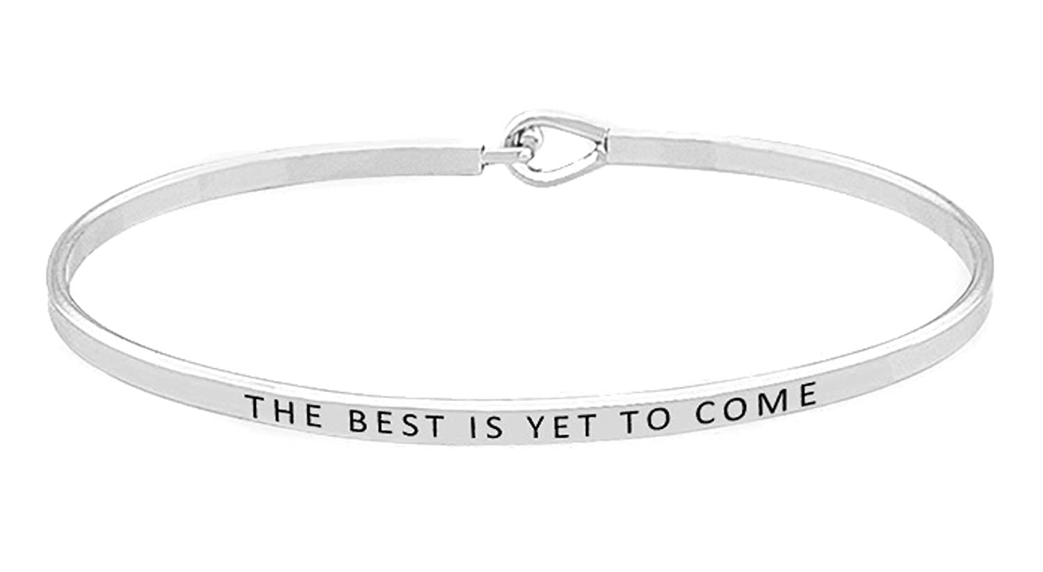 OHBOOBA Inspirational Expandable Thin Engraved Message The Best is Yet to Come Cuff Bangle Bracelets