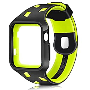 Gaoche Apple Watch Band with Case , Shock-proof and Shatter-resistant Protective Case with TPU Sport iWatch ReplacementBand for Apple Watch Series 3/2/1 Sport and Edition 42mm M/L (black/green)