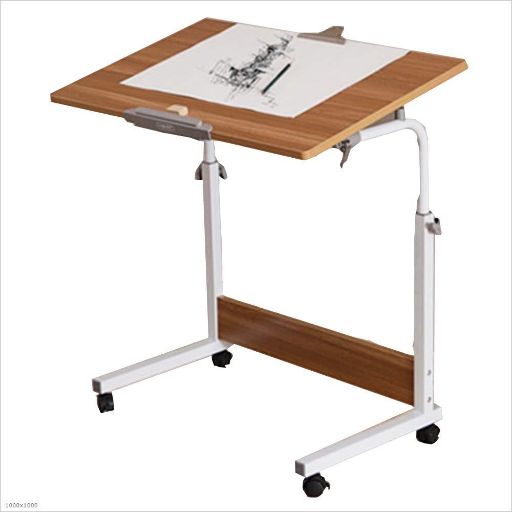 Tables YNN Bedside Adjustable Height Laptop Desk Sofa Portable Bed Desk PC Stand Lapdesks, 4 Sizes (Color : Teak Color, Size : 6040cm)