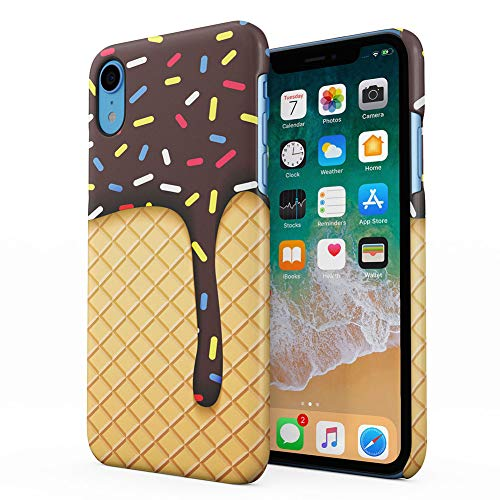 Chocolate Ice Cream Cone Waffle Apple iPhone XR Plastic Phone Protective Case Cover ()