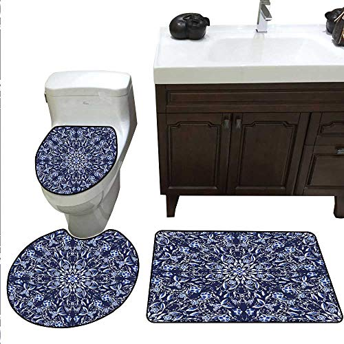 (Dark Blue Bath Toilet mat Set Chinese Painting Style Artwork Traditional Floral Interlace Print Toilet Rug and mat Set Dark Blue Royal Blue White)