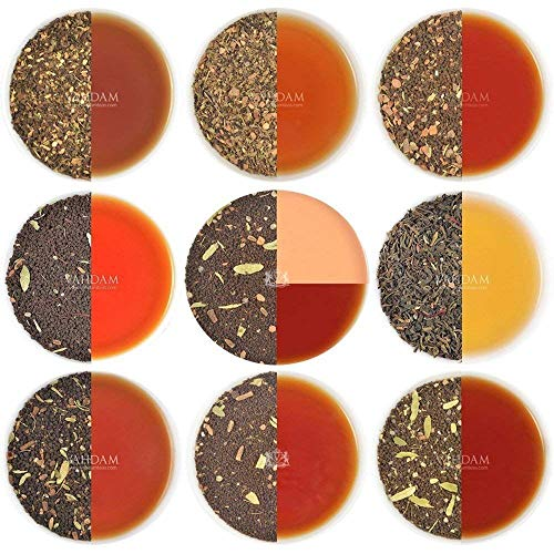 Chai Tea Sampler - 10 TEAS, 50 Servings | 100% NATURAL SPICES | India's Original Masala Chai Teas | Brew Hot, Iced or Chai Latte | Tea Variety Pack & Tea Gift Set - Chai Tea Loose Leaf, 3.53oz