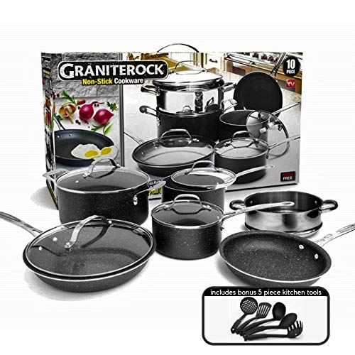 Granite Rock 10-Piece Non-Stick Ultra Durable, Mineral & Granite Coated Scratch Proof Cookware Set + 5 Piece Utensil Set