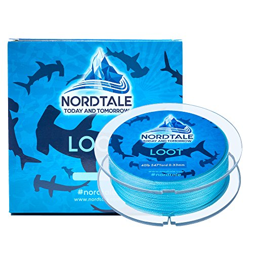 Nordtale Loot Braided Fishing Line 300yards 547yards - Improved Braided Fishing Lines - Abrasion Resistance - Zero Stretch - Thinner Diameter 6lb-80lb (Ocean Blue, 15lb 547-Yard 0.18 mm)