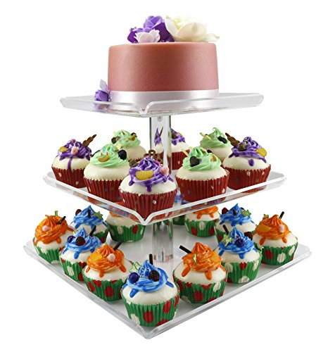 3 Tiers Large Acrylic Cupcake Stands, Serving Tray with Borders, Tiered Square Cake Stand Wedding Tower, Party Dessert Display Holder Multi-Function 3 pcs Separated Trays for Parties Fruit Displays -
