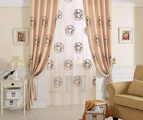 Style Freightliner (Rural Style Sheer Voile Exquisite Birds Flower Embroidered Design Window Curtains Panels Rod Pocket Top for Living Room Bedroom(1 Panel, W 50 x L 90 inch, Orange)-X0557C1FFFGG15090-6201)