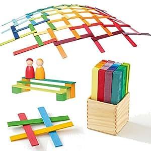 Leonardo Da Vinci's Bridge - Wooden Construction Sticks Building Blocks Toy in Rainbow Colors