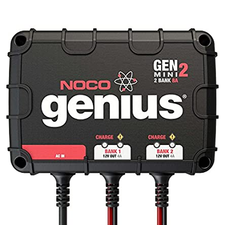 NOCO Genius GENM2, 2-Bank, 8-Amp (4-Amp Per Bank) Fully-Automatic...