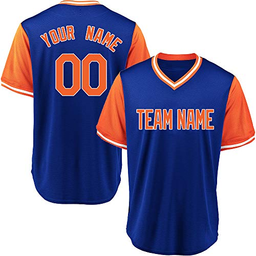 Custom Men's Royal Blue Multicolored V-Neck Weekend Authentic Baseball Jersey with Embroidered Team Name and Numbers,Royal Blue-Orange Size 3XL