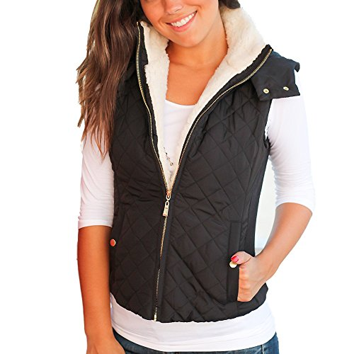 - Idgreatim Women Black Hooded Vest Winter Sleeveless Packable Fleece Jackets Coat