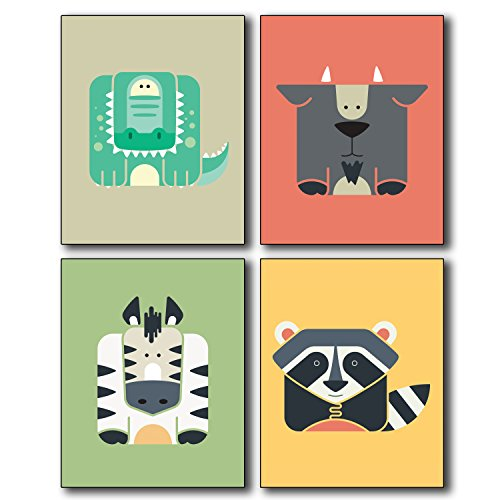 Animal Wall Art Poster Prints - Set of Four Photos