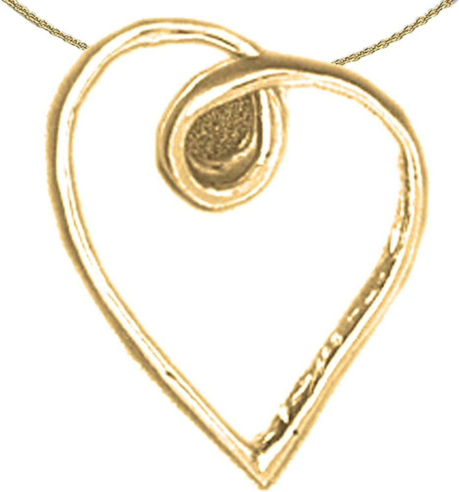 Jewels Obsession Floating Heart Necklace Rhodium-plated 925 Silver Floating Heart Pendant with 16 Necklace