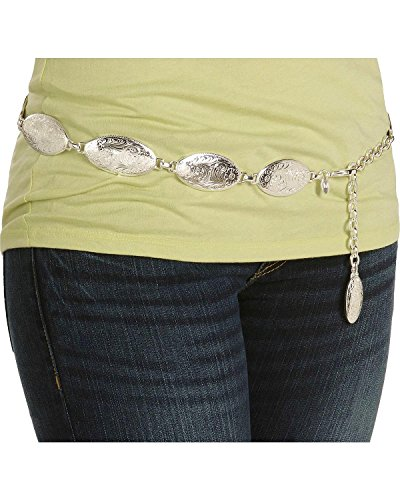 Tony Lama Women's Concho Hip Belt Silver Large
