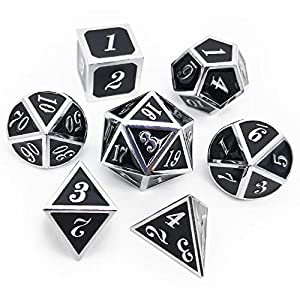 Haxtec 7PCS Metal Dice Set D&D Dice D20 D12 D10 D8 D6 D4 for Dungeons and Dragons DND RPG MTG Table Games-Glossy Enamel Dice