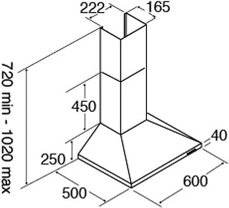 CDA ECH61SS, campana extractora para cocina de acero inoxidable de 60 cm: Amazon.es: Grandes electrodomésticos