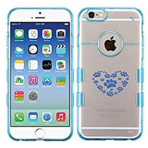 For Case Cover For SamSung Galaxy Note 4 Dog Foot Steps Glassy Transparent Clear/Transparent Gummy Cover. (Baby Blue)