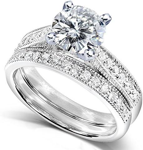 Kobelli Near-Colorless (F-G) Moissanite Bridal Set 1 1/3 CTW 14k White Gold
