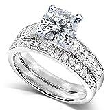 Round Moissanite Bridal Set with Pave-Set Diamond 1 1/3 CTW 14k White Gold