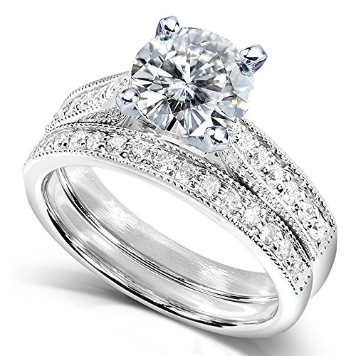 Amazoncom Forever One DF Moissanite Bridal Set with Diamond 1 1