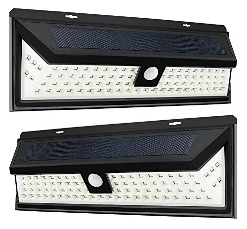 Ashman 2 Pack Solar Outdoor Light, 86 LED Motion Sensor Wall Light, Wireless Tamper Proof Outdoor Light with 1800 Lumens of Output Energy and Operates in 3 Different Modes, Waterproof, Easy to Install
